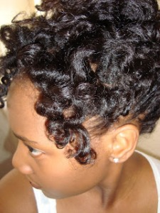 Shea butter helps to create definition like this bantu knot out.