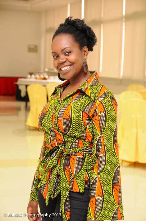 Masuka M. -- wearing a shirt from Kutowa Designs' Tayamba collection.