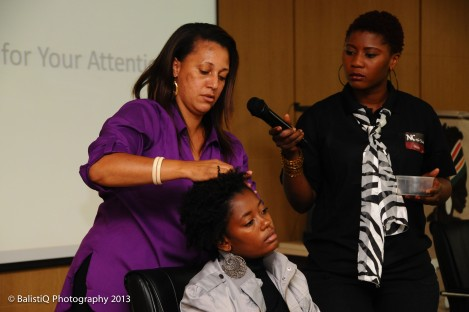 The show ended with styling demonstrations by natural hair stylists from NC Hair Studio