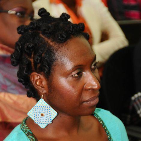 Mwanabibi at the ZedHair Natural Hair Show 2013 wearing bantu knots in her hair