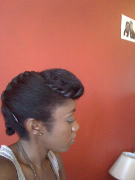Pompadour and plait - side eview