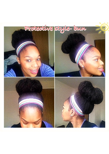 Big Bun - I achieved this big bun protective style by starting off with stretched hair then lightly moisturised with a leave in conditioner and my BBK hair butter cream then I gathered my hair together and tied it with a hair band into a ponytail and tucked in the loose hair on each side using another hair band holder- I wore a few colourful hair bands to accessories and to achieve a sleek look.