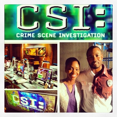 Teyonah Parris and her on screen 'husband' in the recent season 14, CSI episode #2 entitled 'Take the Money and Run'.