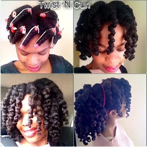 Twist and Curl - I achieved this curly style by starting off with freshly washed hair, moisturised and comb then created 22 medium size twists and secured each twist with a perm rod, allow them to air dry overnight and took down the perm rods once hair was completely dry. I maintained this hairstyle by gathering my hair in a high ponytail when going to bed.