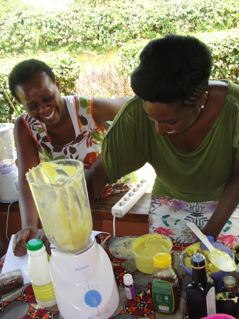 People were able to buy a custom made shea butter mixes and moisturising spritzes at the workshop