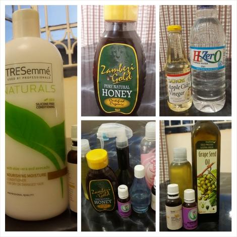 The complete ingredients list in the Original 28 Day Regimen - Tea Tree Oil Silicone-free conditioner, honey, ACV rinse, Moisturising Spritz, Jojoba/Grapeseed Hair Oil