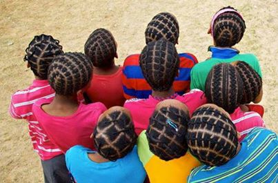 African threading is a staple style in most school age girls on the continent