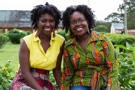 Masuka & Mwanabibi after a long exhausting day that was ultimately rewarding and satisfying.  Oh and the humidity and rain caused our hair to frizz and poof up, not that we noticed. Lol
