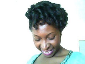This look was achieved by setting damp hair with a mixture of shea butter and flax seed gel then using Curlformers.