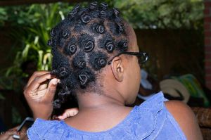 Nefuno showed us how she uses bantu knots to style shorter hair.