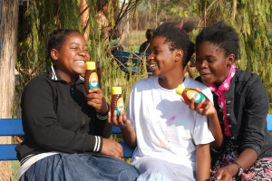 A few of the girls show off their Honey donated by Ubuchi