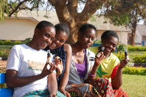 Some of the girls with the Sweet Almond Oil donated byKalahari BioCare.