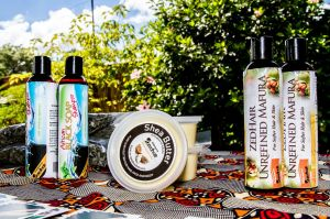 ZedHair Shea Butter, African Black Soap Shampoo and Mafura on sale at our workshop in March this year.