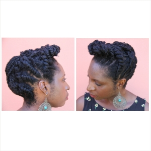 Week 21 was a pinned up flat twist sides and two strand twists in the middle.