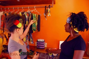 Last year at Kutowa Designs store. Towani (left) and Mwanabibi showcasing Kutowa Designs hair accessories.